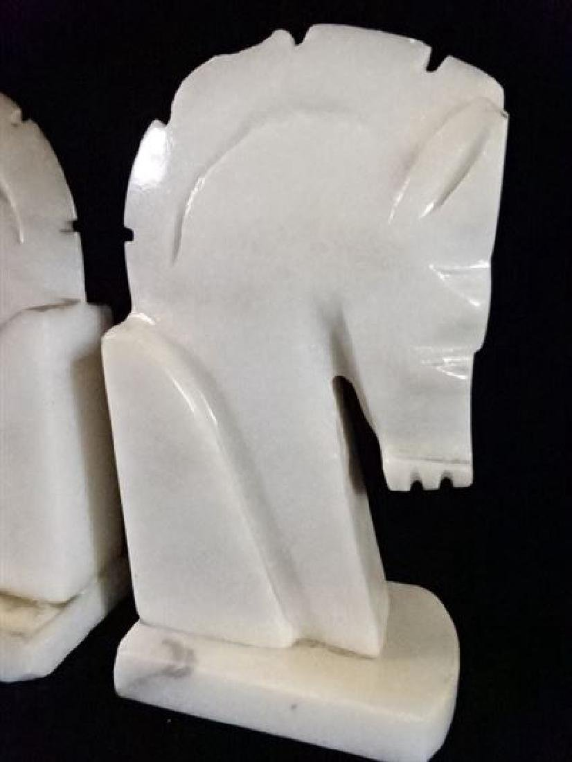 PAIR WHITE MARBLE HORSE HEAD BOOKENDS, GOOD VINTAGE - 3