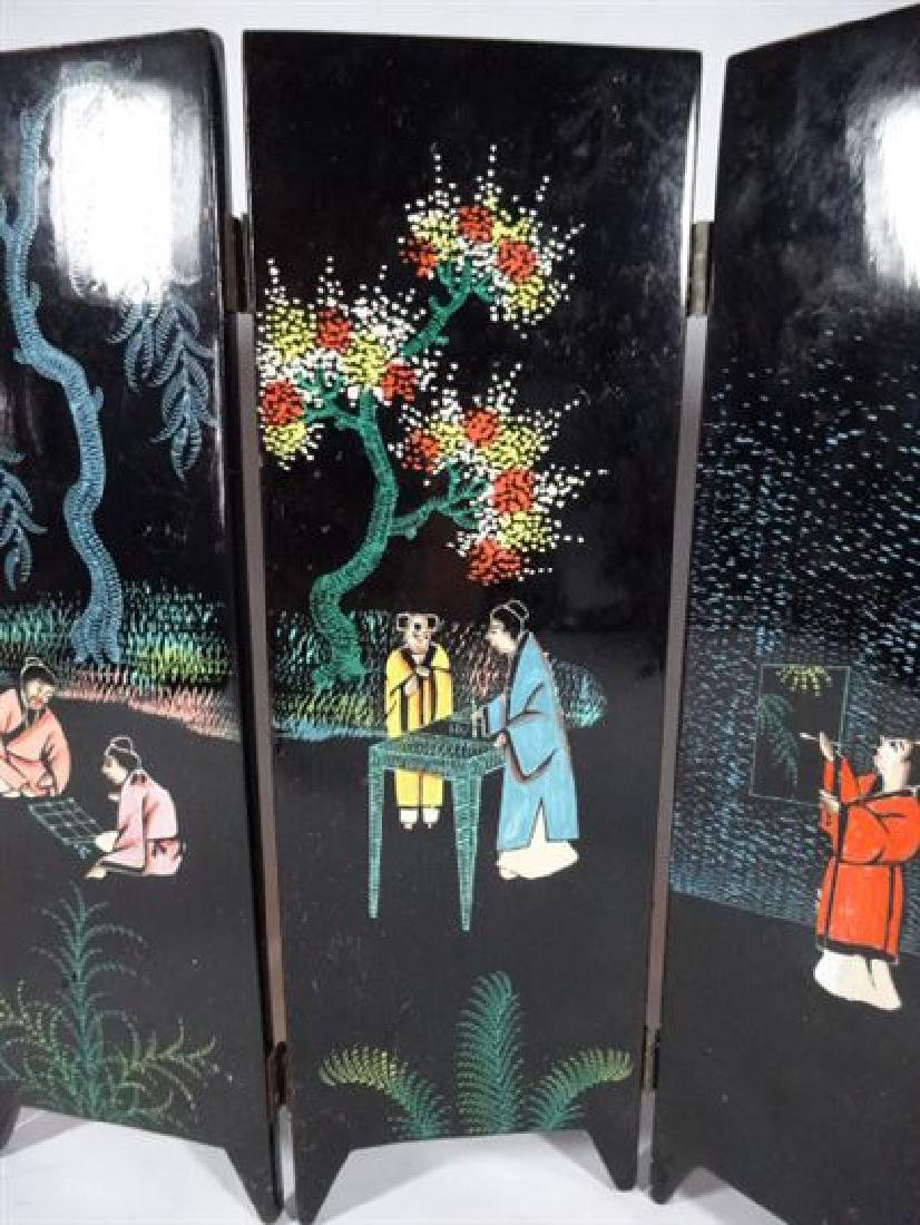 TABLE TOP CHINESE SCREEN, 6 PANELS, PAINTED FIGURES AND - 2
