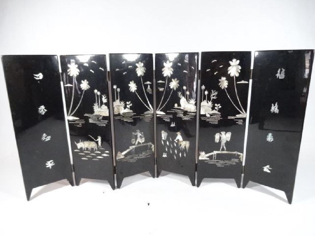 TABLE TOP CHINESE SCREEN, 6 PANELS, PAINTED FIGURES AND - 4