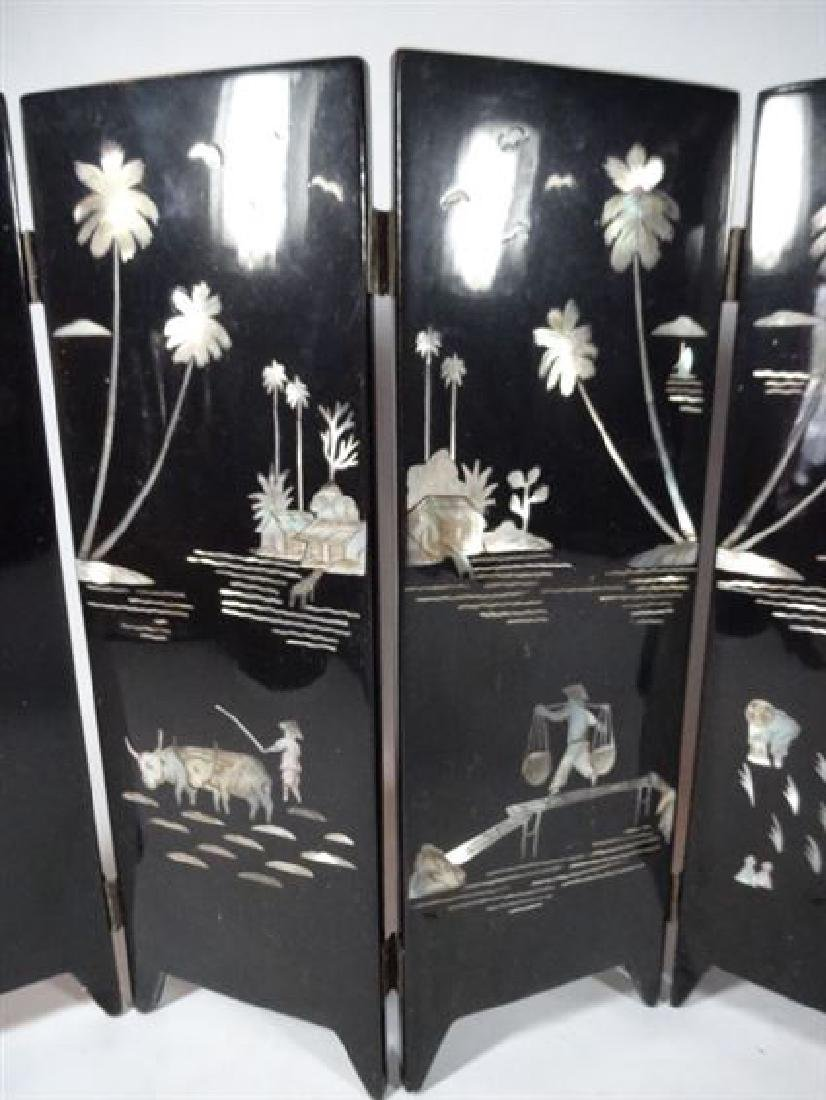 TABLE TOP CHINESE SCREEN, 6 PANELS, PAINTED FIGURES AND - 6