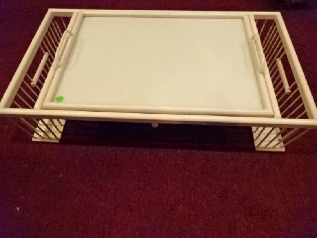 "WOOD BED TRAY, LIGHT FINISH, VERY GOOD CONDITION, 30"" X - 3"