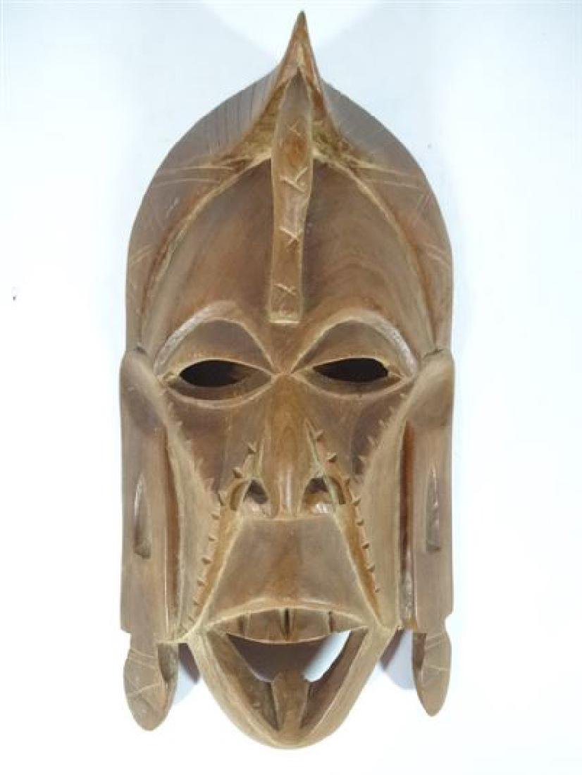 "CARVED WOOD TRIBAL MASK, VERY GOOD CONDITION, 10"" X 5"","