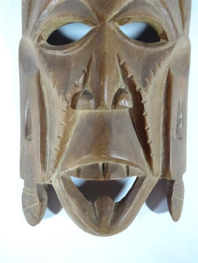 "CARVED WOOD TRIBAL MASK, VERY GOOD CONDITION, 10"" X 5"", - 2"