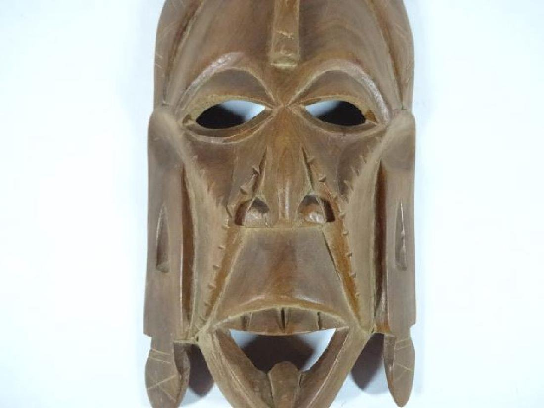 "CARVED WOOD TRIBAL MASK, VERY GOOD CONDITION, 10"" X 5"", - 4"