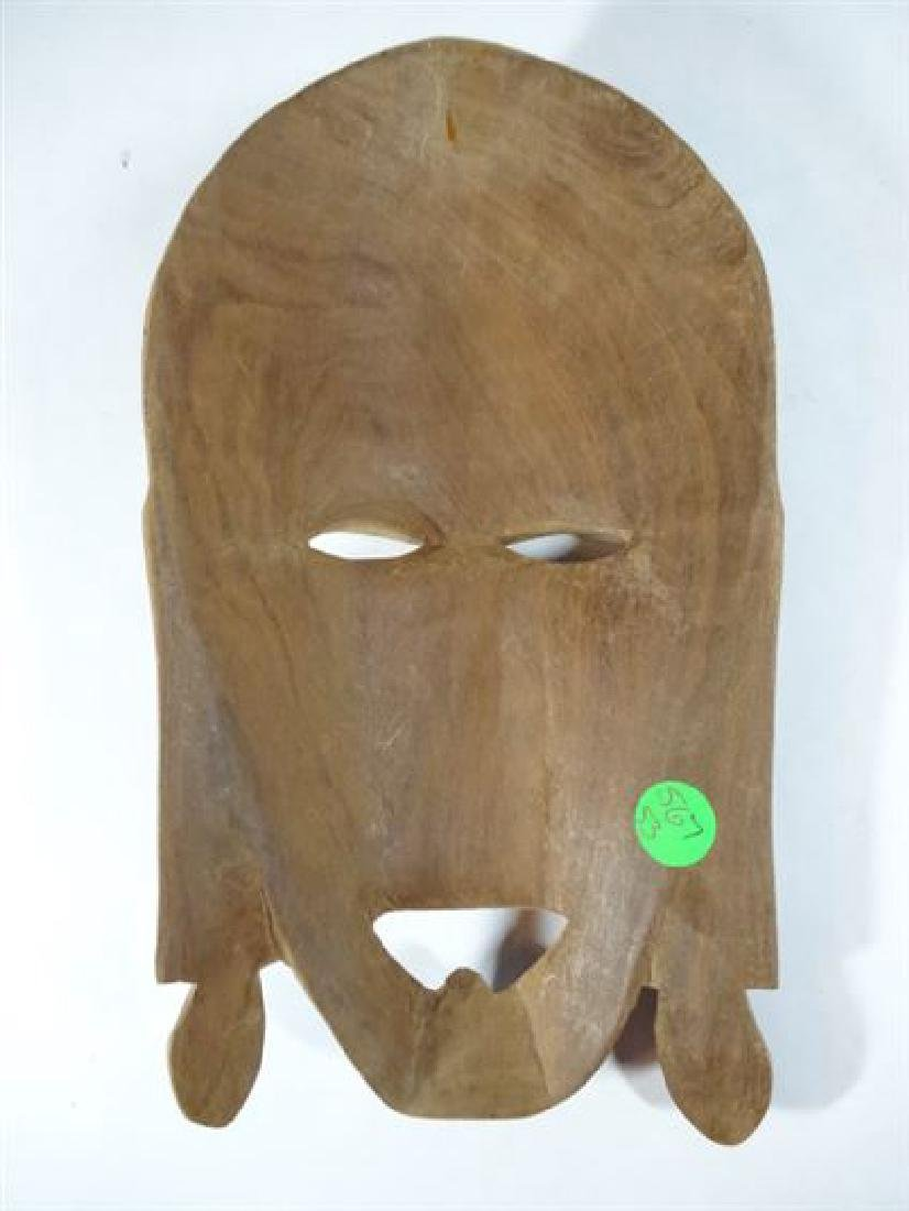 "CARVED WOOD TRIBAL MASK, VERY GOOD CONDITION, 10"" X 5"", - 5"