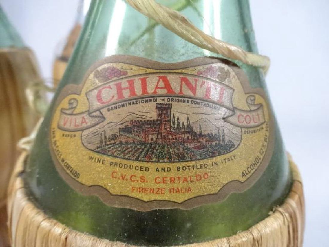 "3 GLASS CHIANTI BOTTLES, LARGEST 11"" X 5, SKU567.52 - 6"