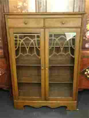 EARLY 2OTH C. WOOD BOOKCASE CABINET, 2 GLASS DOORS WITH