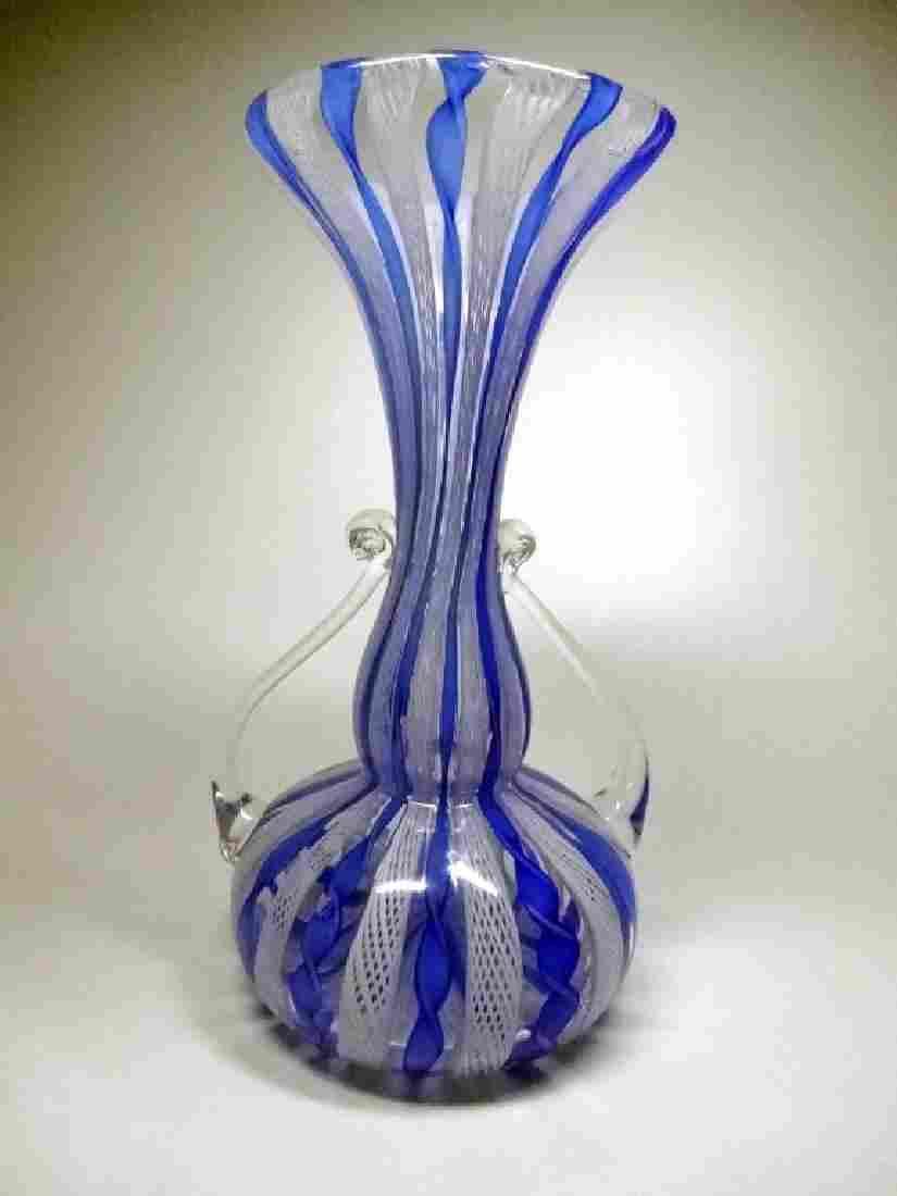 VINTAGE ITALIAN VENETIAN MURANO GLASS VASE, BLUE, WHITE