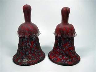 2 PC VINTAGE ITALIAN VENETIAN MURANO GLASS BELLS, RED