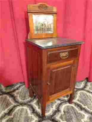 ANTIQUE SLATE TOP CABINET / WASHSTAND WITH MIRROR TOP