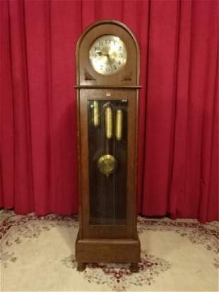 DOME TOP GRANDFATHER CASE CLOCK, EARLY 20TH C., BRASS