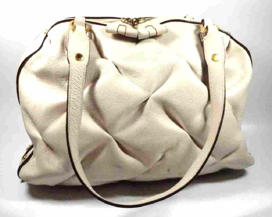 SMYTHSON NANCY PURSE / HANDBAG, CREAM WHITE LEATHER,