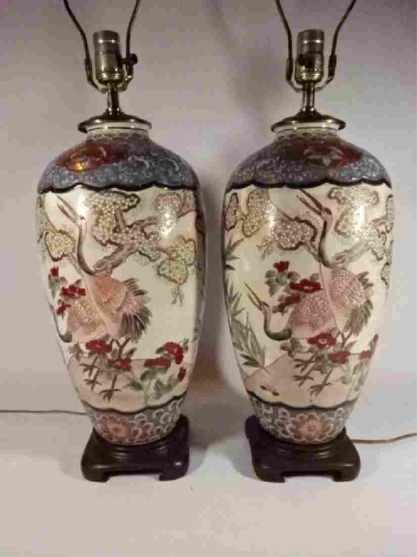 PAIR LARGE CHINESE PORCELIAN LAMPS, URN SHAPE WITH