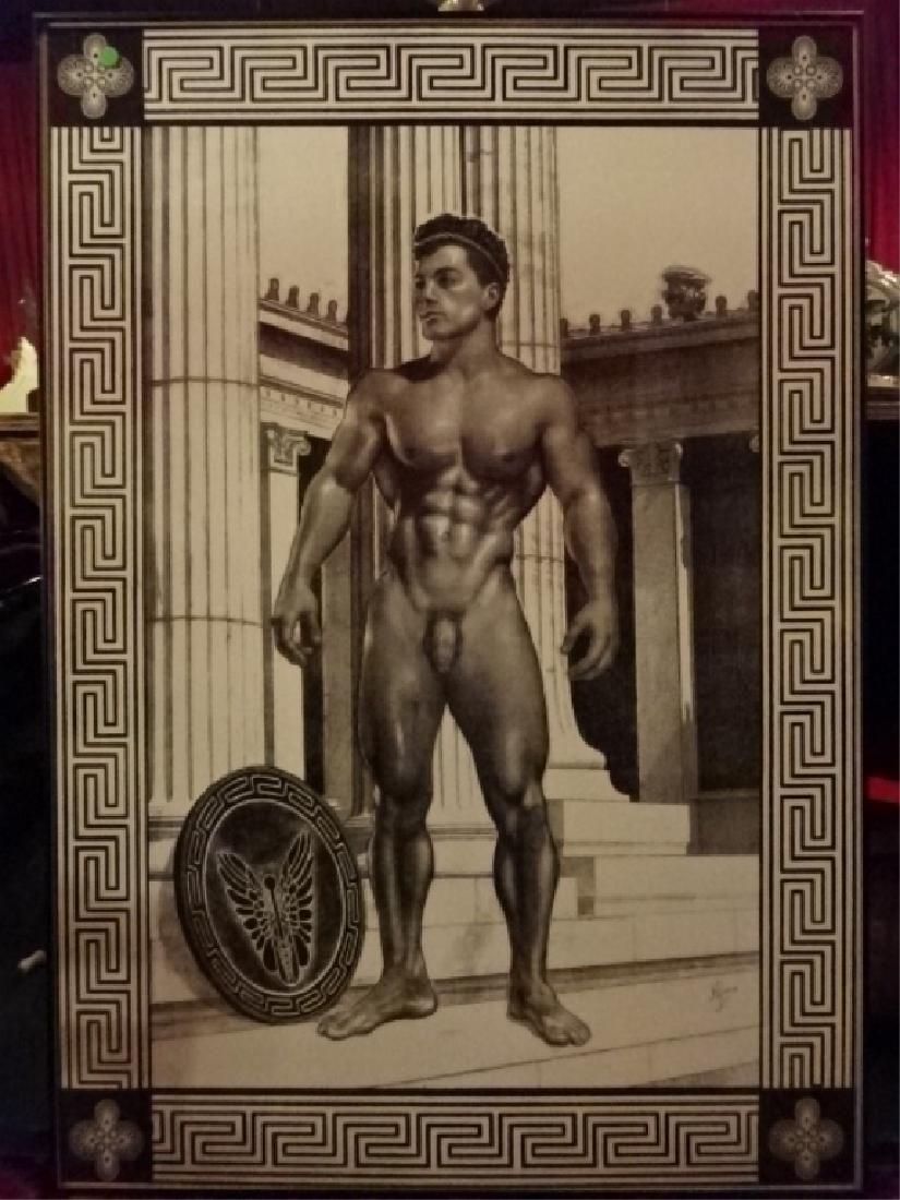 LARGE ALBERT CARUS PRINT, GREEK GOD MERCURY NUDE MALE