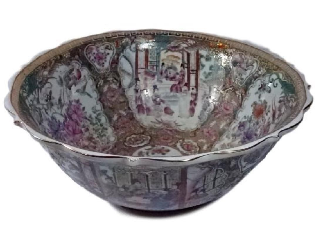 LARGE CHINESE ROSE MEDALLION BOWL, PAINTED AND GILT
