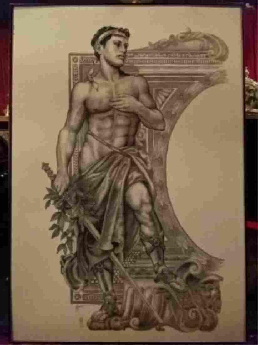 LARGE ALBERT CARUS PRINT, GREEK OLYMPIC ATHLETE, SIGNED