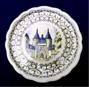 FRENCH FAIENCE POTTERY PLATE, LES BEAUX MONUMENTS DE