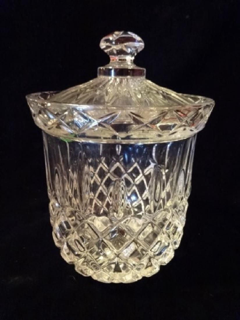 "CRYSTAL JAR WITH LID, APPROX 7"" X 5"""