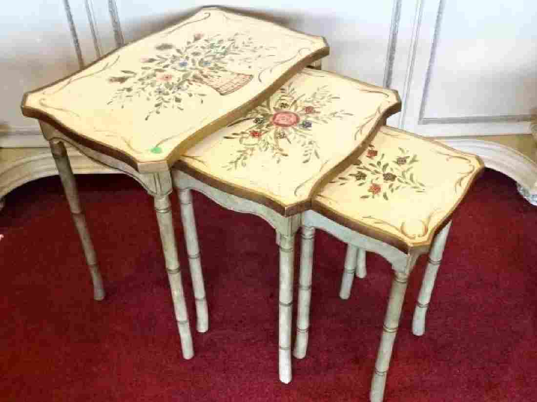 3 PC HOLLYWOOD REGENCY STYLE NESTING TABLES, FAUX