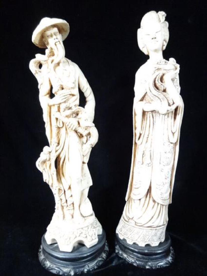 2 CHINESE FIGURES, KWAN YIN AND IMMORTAL, RESIN