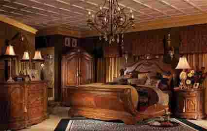 OPULENT MICHAEL AMINI CORTINA KING BEDROOM SET IN HONEY