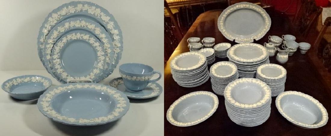 102 PC VINTAGE WEDGWOOD QUEENSWARE, BLUE AND WHITE,