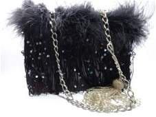 DEDE SIGNED EVENING BAG, BLACK, WITH FEATHERS AND