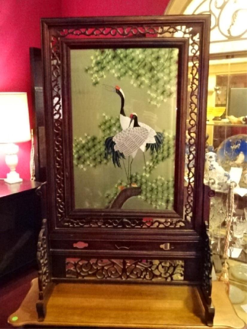 ANTIQUE CHINESE DOUBLE SIDED SILK TABLE SCREEN, CIRCA