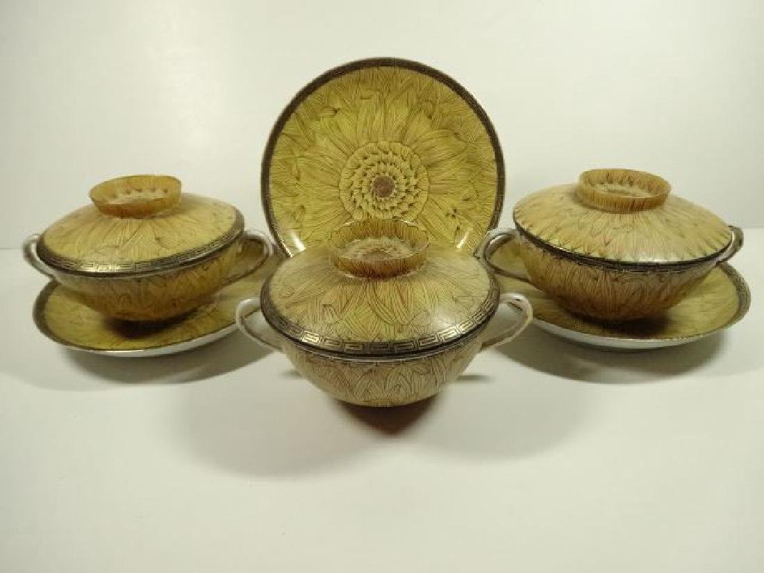 6 PC JAPANESE PORCELAIN BOWLS WITH LIDS AND SAUCERS, 3