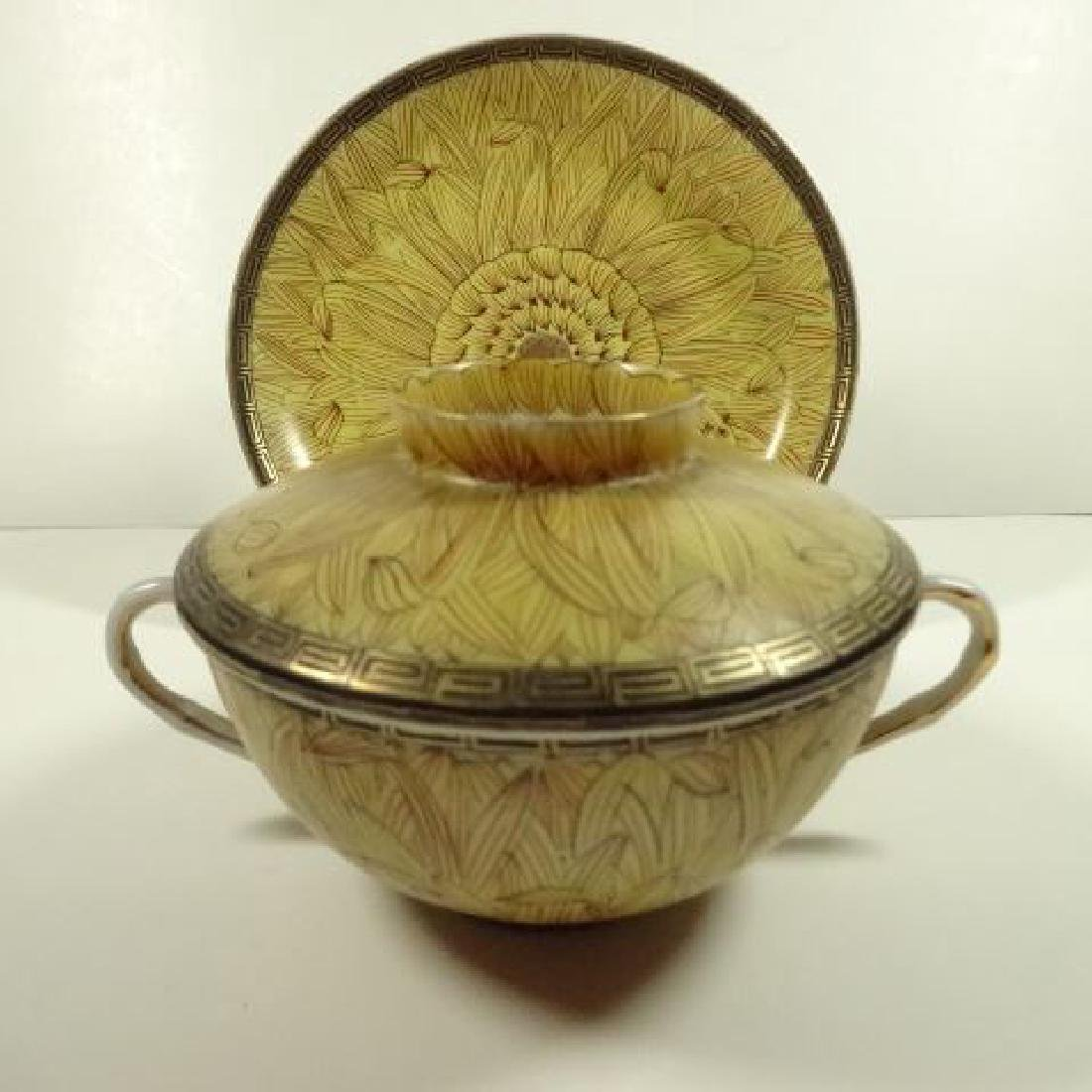 6 PC JAPANESE PORCELAIN BOWLS WITH LIDS AND SAUCERS, 3 - 2
