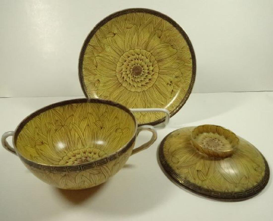 6 PC JAPANESE PORCELAIN BOWLS WITH LIDS AND SAUCERS, 3 - 3