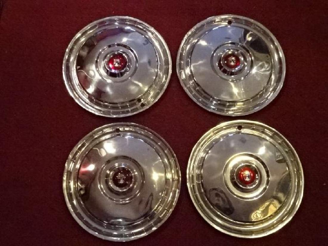 SET OF 4 FORD THUNDERBIRD HUBCAPS, 1955-56, VERY GOOD - 2