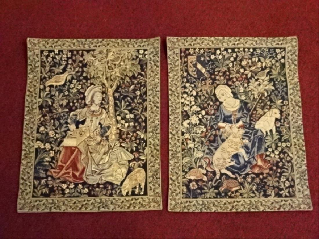 PAIR FRENCH EMBROIDERED TAPESTRIES, HAND STITCHED,