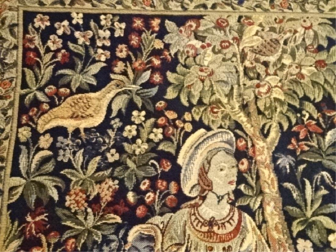 PAIR FRENCH EMBROIDERED TAPESTRIES, HAND STITCHED, - 6