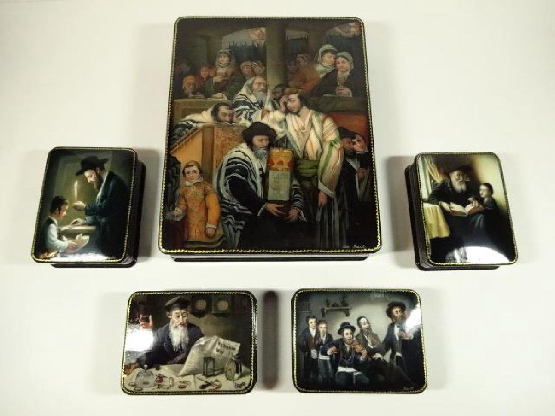 5 PC RUSSIAN JUDAICA LACQUERED BOXES, HAND PAINTED,