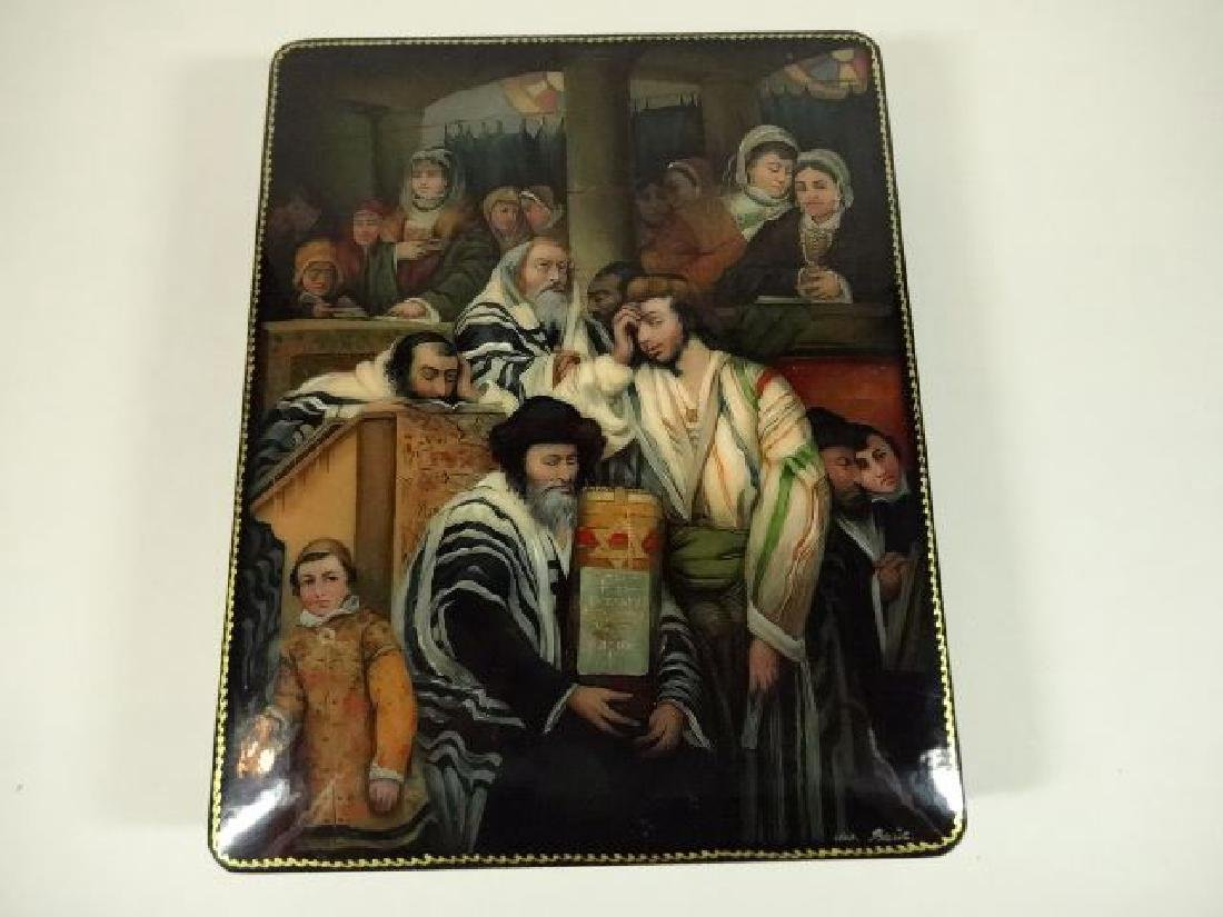 5 PC RUSSIAN JUDAICA LACQUERED BOXES, HAND PAINTED, - 2