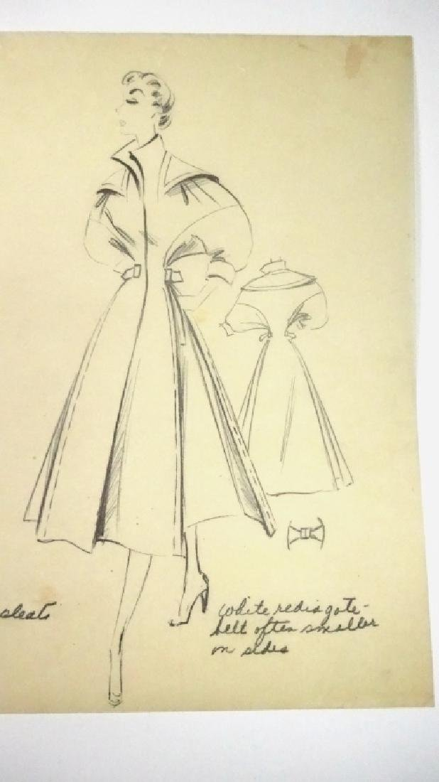 GWENDOLYN LYNN MID CENTURY FASHION DRAWING, PENCIL ON - 5