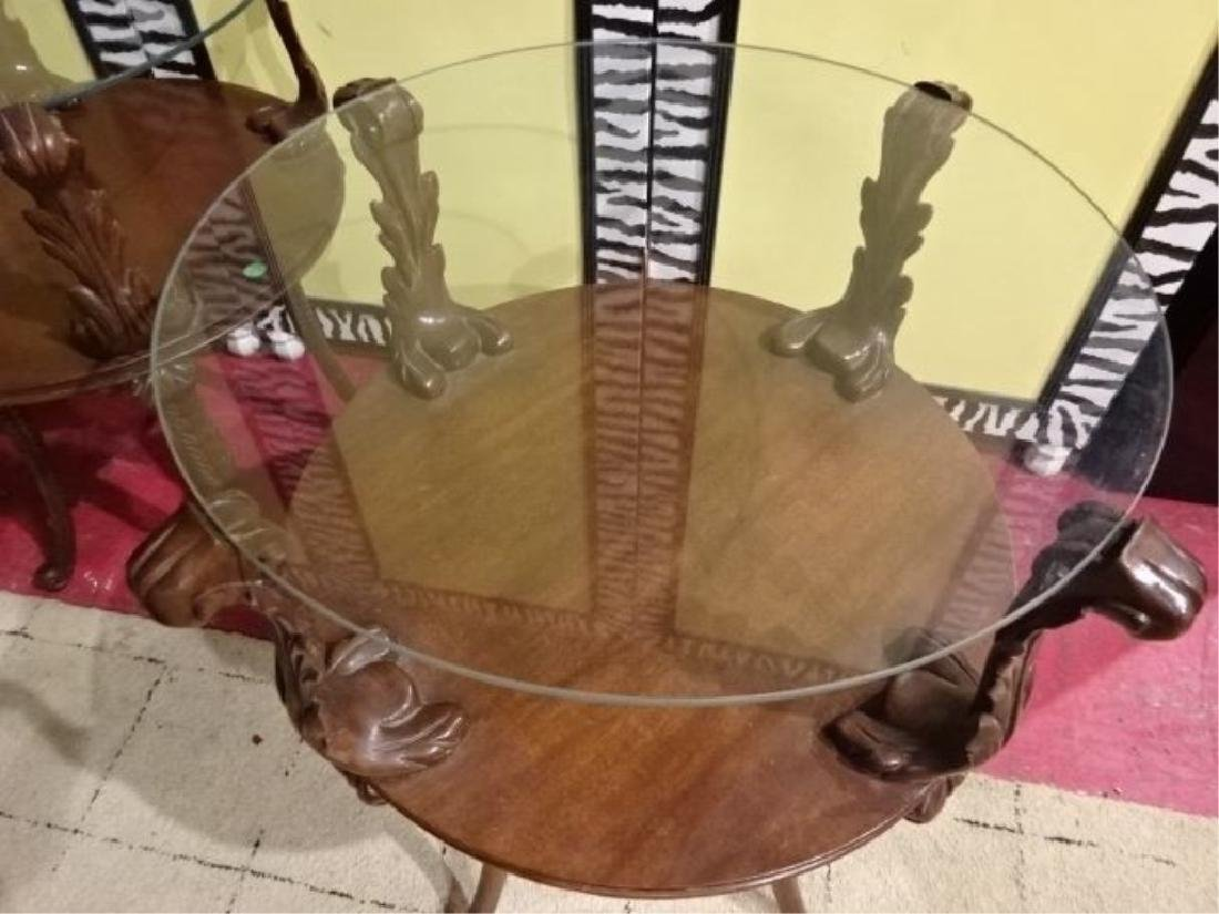 PAIR MID CENTURY SIDE TABLES, CARVED PLUMES SUPPORT - 6