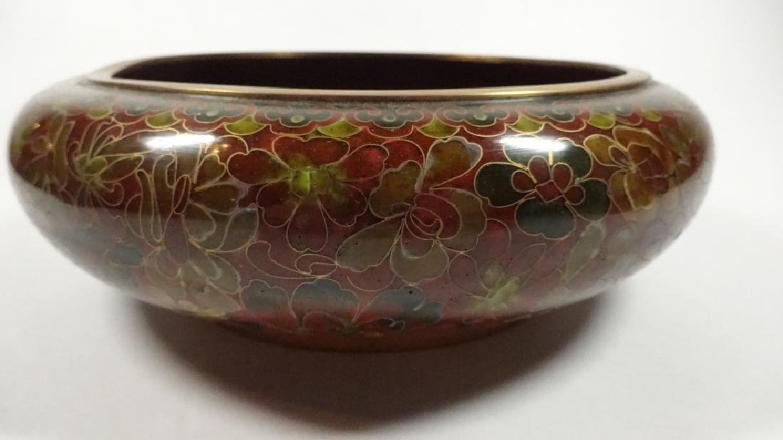 CHINESE ZI JIN CHENG CLOISONNE BOWL, BROWN FLORAL - 10