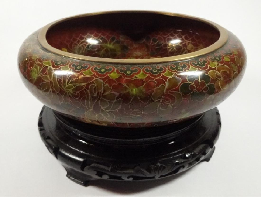 CHINESE ZI JIN CHENG CLOISONNE BOWL, BROWN FLORAL
