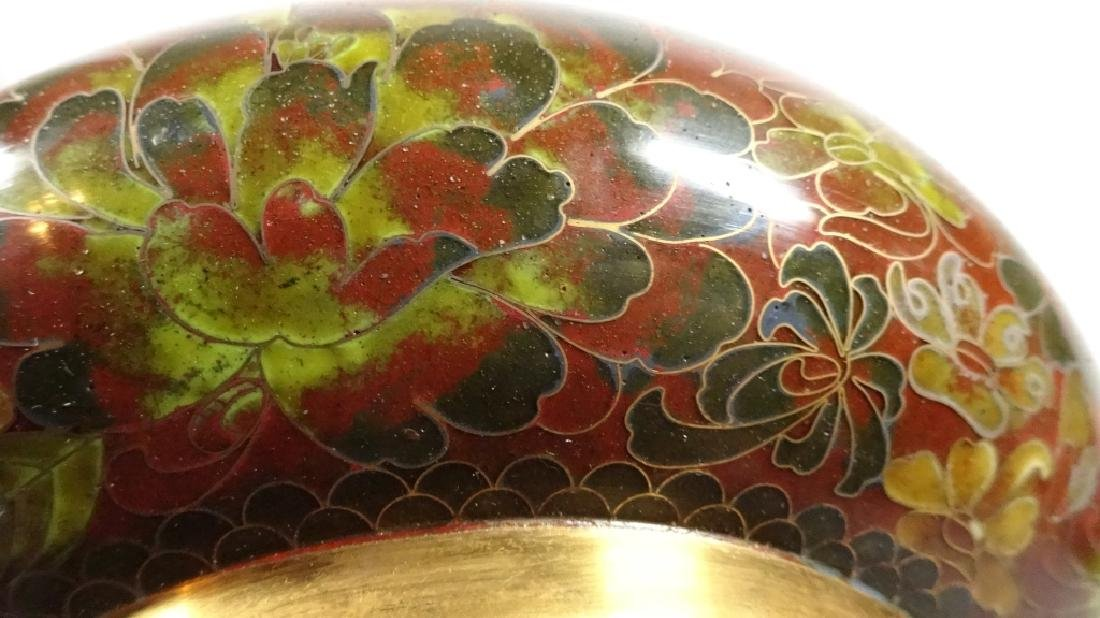 CHINESE ZI JIN CHENG CLOISONNE BOWL, BROWN FLORAL - 2