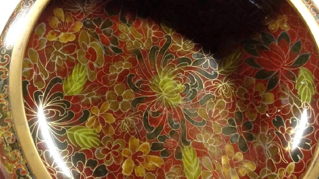 CHINESE ZI JIN CHENG CLOISONNE BOWL, BROWN FLORAL - 6