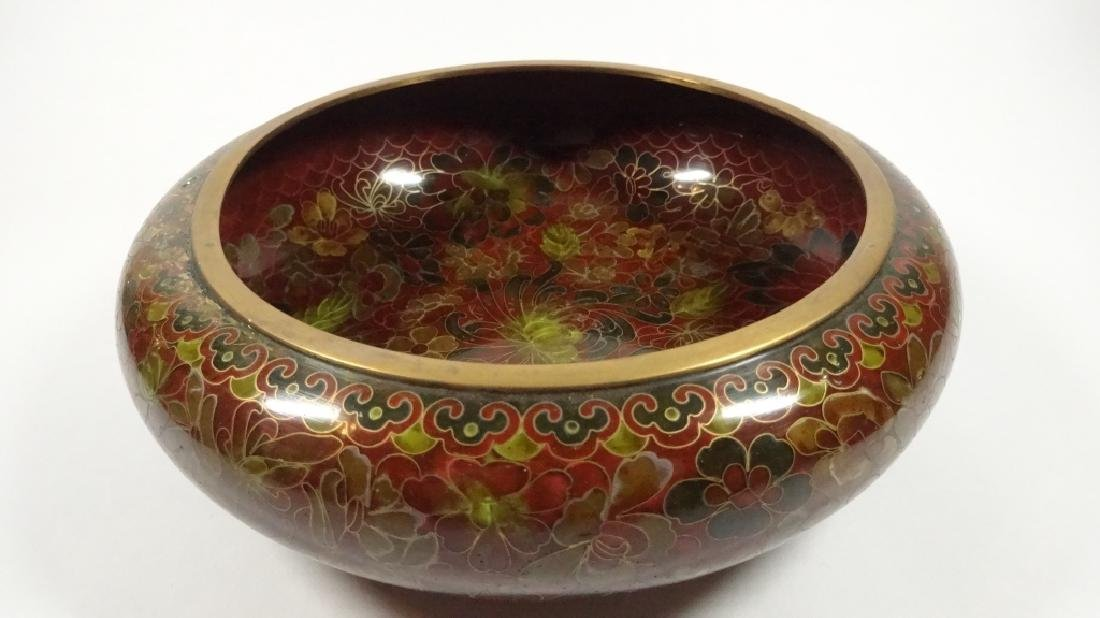 CHINESE ZI JIN CHENG CLOISONNE BOWL, BROWN FLORAL - 8