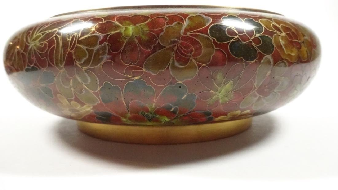 CHINESE ZI JIN CHENG CLOISONNE BOWL, BROWN FLORAL - 9