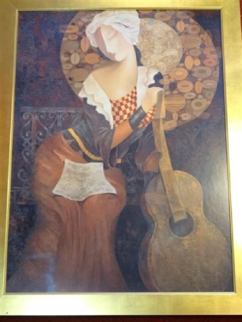 LARGE FRAMED PRINT, WOMAN WITH GUITAR, IN GOLD FINISH