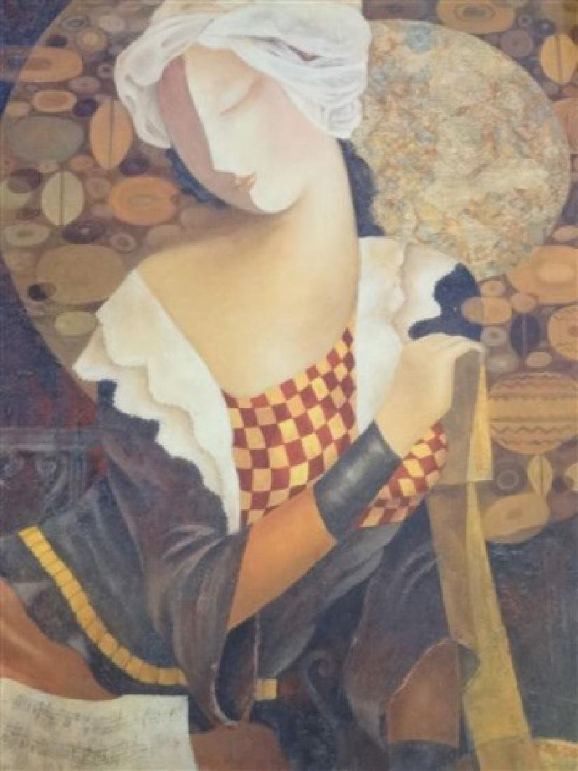 LARGE FRAMED PRINT, WOMAN WITH GUITAR, IN GOLD FINISH - 2