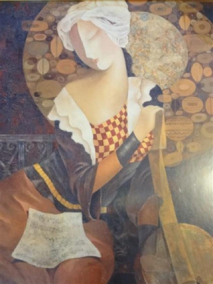LARGE FRAMED PRINT, WOMAN WITH GUITAR, IN GOLD FINISH - 3