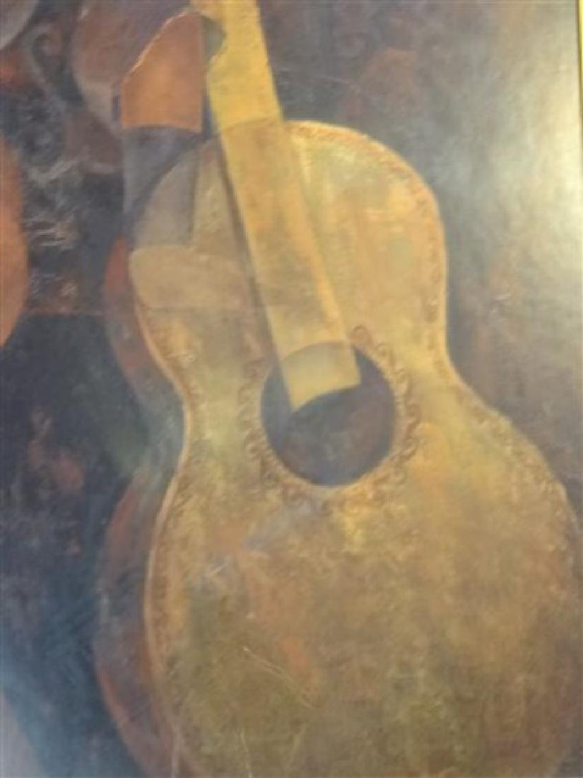 LARGE FRAMED PRINT, WOMAN WITH GUITAR, IN GOLD FINISH - 4