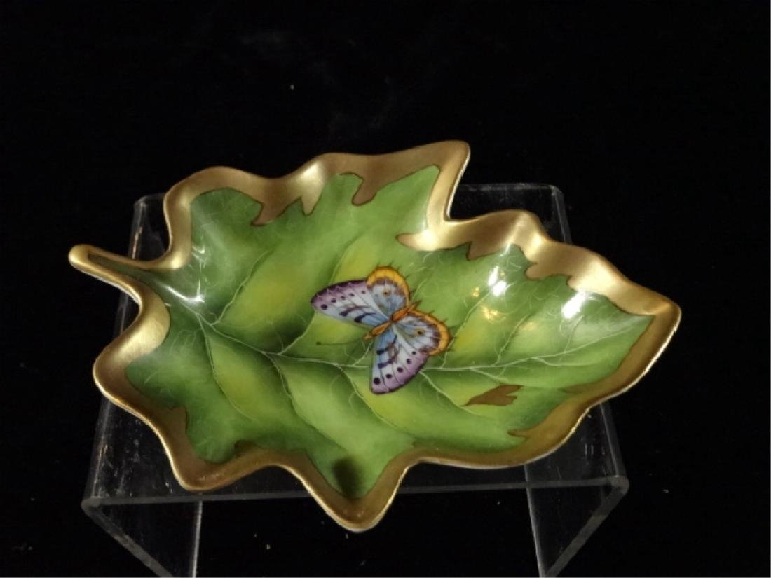 ANNA WEATHERLY PORCELAIN LEAF DISH WITH BUTTERFLY, HAND
