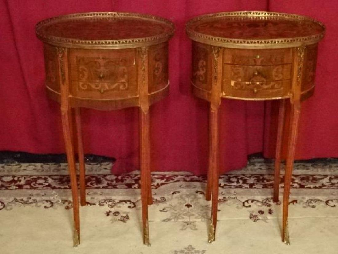 PAIR MARQUETRY LOUIS XVI STYLE TABLES, OVAL WITH 3